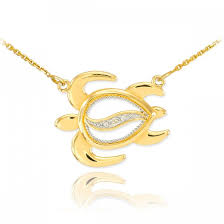 diamond turtle pendant necklace in 14k gold
