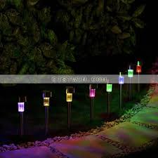4pcs solar lamps outdoor lighting garden color changing solar stainless steel pathway lawn lights