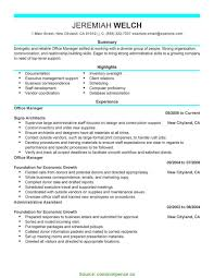 Interesting Office Manager Summary Examples Resume Template Office