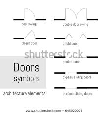 sliding doors plan. Wonderful Doors Set Of Simple Vector Door Sliding Doors Top View Construction Symbols  Used In Inside Sliding Doors Plan R