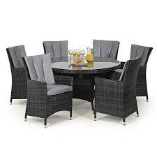 maze rattan 6 seat la round dining garden furniture set grey 1408 p jpg