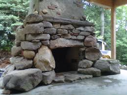 natural outdoor stone fireplace