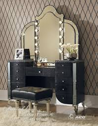 Amazon.com: Aico Hollywood Swank Vanity with Bench Set 3 Piece in Black  Iguana by Michael Amini: Home & Kitchen