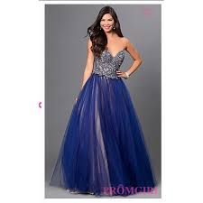 Glamour By Terani Navy Blue Nude Prom Dress