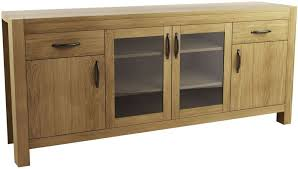 qualita goliath oak 2 wood and 2 glass door wide sideboard furniture s