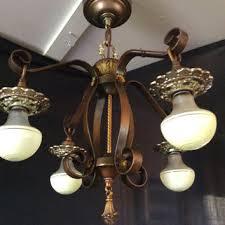 antique vintage wrought iron art deco 4 light chandelier 1920s polychrome