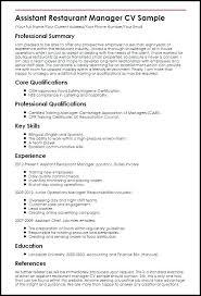 Resume Sample For Restaurant Manager Restaurant Manager Resume