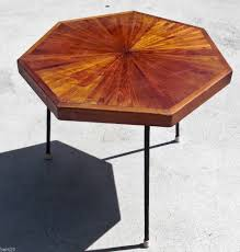 Inlaid Dining Table Mid Century Modern Table Wood Inlaid Metal Legs Octagon Metals