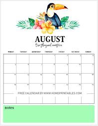 August Theme Calendar Free Printable Monthly Calendar 2019 In Vibrant Tropical