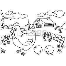 Chicken Coloring Pages Chicken Coloring Pages Vector Stock Vector