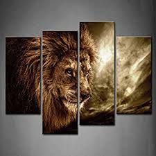 firstwallart 4 panel wall art brown fierce lion against stormy sky painting the picture print on on brown wall art canvas with amazon firstwallart 4 panel wall art brown fierce lion against