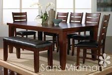 barlow dining room furniture 9 pc set table 6 chairs bench