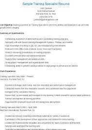 Sample Training Specialist Resume Resume Sample Resume