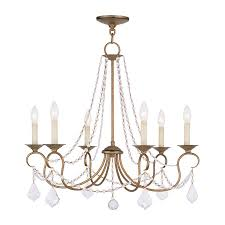 livex lighting pennington 28 in 6 light antique gold leaf vintage candle chandelier
