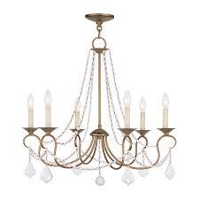 livex lighting pennington 6 light antique gold leaf vintage candle chandelier