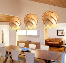 diy wooden led pinecone pendant lights modern handmade iq puzzles home restaurant hanging pine cone wood dining hall light modern pendant light hanging