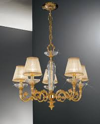 contarini 5 light gold chandelier with shades kolarz lighting
