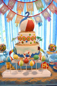 Beach Ball Cake Decorations Beauteous A Pool Party Splash Birthday Cake With Beach Ball Cake Pops Gold