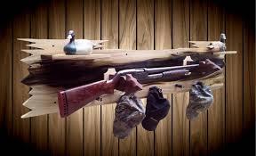 Gun Coat Rack Rustic Wood Wall Gun Rack Aged Poplar Shelf Shotgun Shell Hat Coat 74