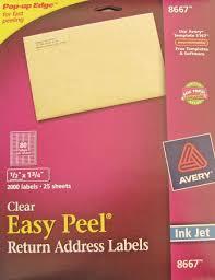 Avery 1 2 X 1 3 4 Template Avery Clear Inkjet Return Address Labels 25 Sheets 1 2 X 1 3 4 8667