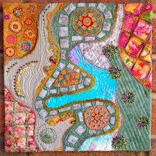 163 best Map quilts images on Pinterest | Textiles, Quilt patterns ... & Garden, map art quilt by Kaylene Maalste (Australia) Adamdwight.com
