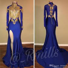 B Darlin Size Chart Sexy High Neck Blue Prom Dresses Mermaid Slit Long Sleeves Party Dress Evening Wear Lace Applique Sequined Graduation Gowns 2k19 B Darlin Prom Dresses