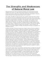the strengths and weaknesses of natural moral law natural law the strengths and weaknesses of natural moral law natural law morality