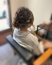 平原さんのヘアスタイル 編み込みアップ宮崎市 Tredina