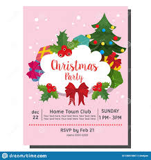 Christmas Invitation Card Cute Christmas Party Invitation Card Christmas Tree Flat