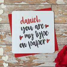 you are my type on paper personalised card by parsy card co you are my type on paper personalised card
