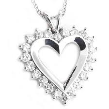 14kt white gold 1 50ct tw diamond heart pendant with chain more than just rings