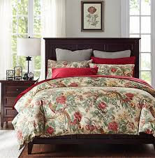 new american style vintage bedding set rich bird print bedding satin 100 cotton duvet cover wrinkle red bed sheet bed skirt in bedding sets from home