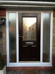 composite front door with 2 glass side panels