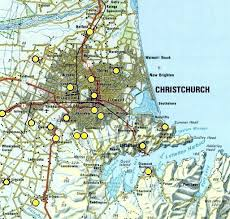 christchurch current weather Map Of Christchurch christchurch click on a yellow spot to see current or recent weather at that location nz map index map of christchurch new zealand