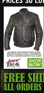 xelement b7496 bandit men s retro brown advanced level 3 distressed buffalo leather motorcycle