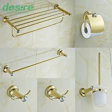 Brass Bathroom Accessories Gold Plating Brass And Crystal Bathroom Accessories Set 6 Pieces