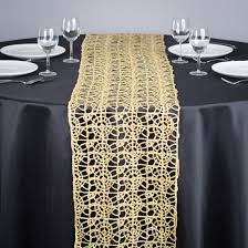 furniture runners. Gold Lace Table Runner On Round Wedding Dining With Black Fabric Cover Ideas Furniture Runners LindaBerner.com