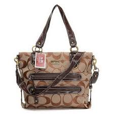 Coach Double Zip Logo Medium Camel Totes EHK