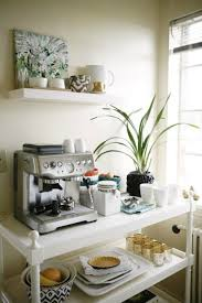 home coffee bar furniture. Repurpose A Vintage Cart: The Best Way To Use Cart In Your Home Is Turn It Into Coffee/breakfast Station. Place An Espresso Machine And White Coffee Bar Furniture E