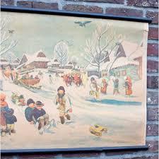 Chart On Winter Season Vintage School Chart Winter Sight With Snow Vintageitem Com