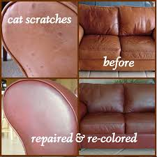 cat scratches on leather loveseat repaired with sandpaper and super glue and red with cherrywood leather
