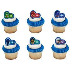 24 Pj Masks Heroes And Villians Cupcake Cake Rings Birthday Party