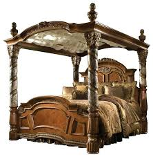 King Size Four Poster Canopy Bed 4 Post Beds Antique White Can ...