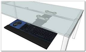 large glass computer desk office with keyboard tray and 3 for