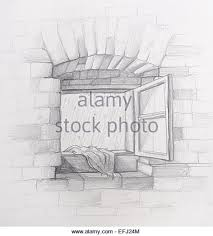 vintage window drawing. its a rainy day: opened old vintage window in brick wall with wet drawing #