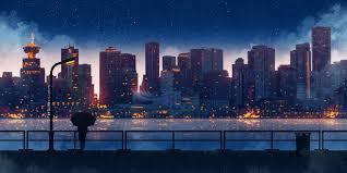 Anime City Night Aesthetic Wallpaper ...