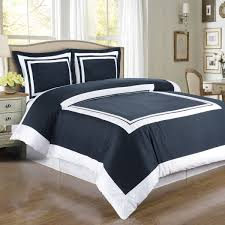 hotel navy and white 3 piece king cal king duvet cover