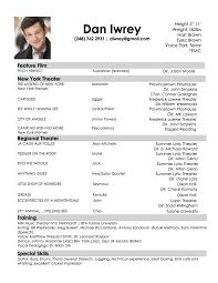 Audition Resume Template 72 Images Dance Resume Examples Alexa