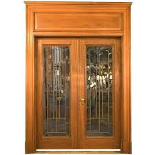 stained glass french door walnut leaded glass french door unit with oversized stained glass interior french