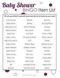 list of items needed for baby baby shower bingo game oh my baby shower